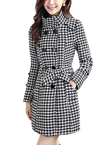 Jenkoon Women's Winter Double Breasted Stand Collar Button Pea Coat Trench Coat with Belt (White Plaid, Small)