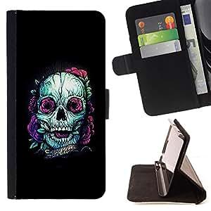 BullDog Case - FOR/Samsung Galaxy S5 Mini, SM-G800 / - / TEAL SKULL PURPLE NATURE TATTOO INK BLACK /- Monedero de cuero de la PU Llevar cubierta de la caja con el ID Credit Card Slots Flip funda de cuer