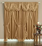 "Victorian Style Bombay Curtain Set 120""x84"" Gold 2 Panel with lace on edge, sheer backing, Valance Window Treatment Drapery & Tie Backs"