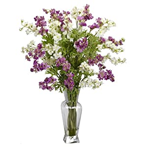 Nearly Natural 1253 Dancing Daisy Silk Flower Arrangement, Purple/White 36