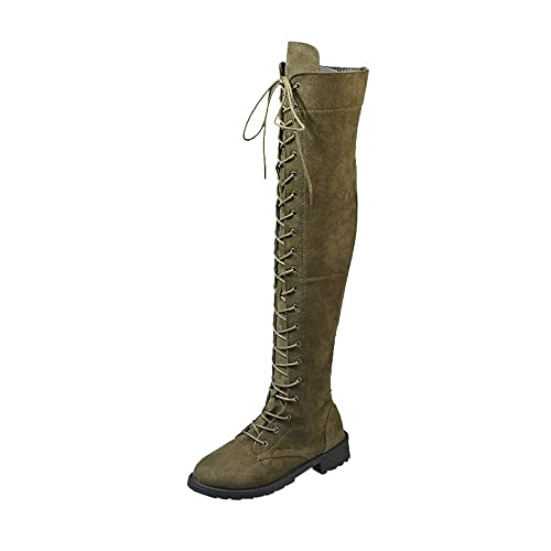 fc5c478a108 Sunmoot Lace up Suede Over The Knee Boots Women Stretch Faux Slim Flat  Shoes Army Green