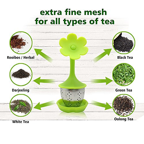 Tea Infuser with Drip Tray Included Set of 5, SourceTon Silicone Handle Stainless Steel Strainer Filter Loose Tea Steeper - Best Tea Infuser for Herbal Tea that used in Tea Cups, Mugs, and Teapots by SourceTon (Image #3)'