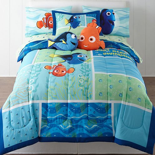 "Finding Dory ""Marine Adventure"" Twin / Full Bedding Comforter - Dory and Nemo Just Keep Swimming - W/Bonus Sham"