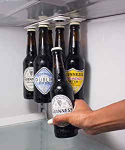 Magnetic Beer Hanger - Hold 6 Beers Firmly to the Roof of Your Fridge - By Buzzed Designs