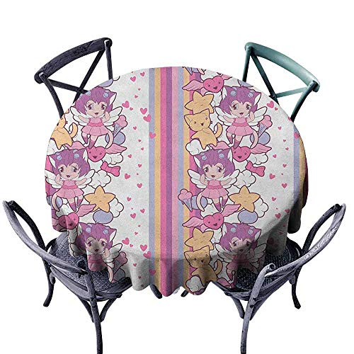 (G Idle Sky Doodle Wrinkle Resistant Tablecloth Illustration of Angels Stars and Cats Clouds with Mini Hearts Otaku Kawaii Japanese Easy Care D63 Multicolor )