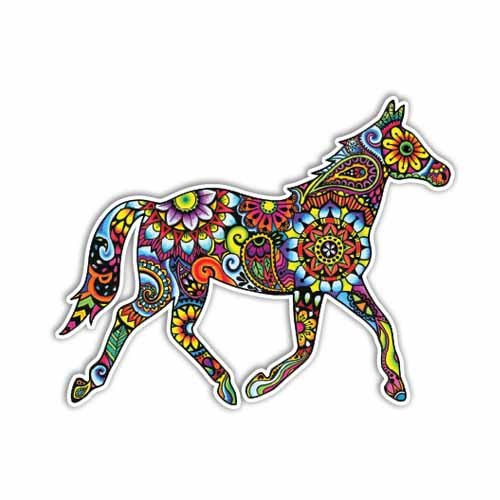 MeganJDesigns Horse Sticker Colorful Design Bumper Sticker Laptop Decal Car Decal Horse Equine Equestrian Pony Art Western Cowgirl Hippie Boho Cute Decal (Western Car Stickers)