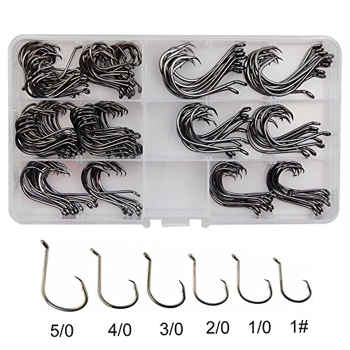 Saltwater Hat Fishing - Shaddock Fishing ® 180pcs/box 6 Size 7384 2X Strong Offset Octopus Fishing Hooks High Carbon Steel Sport Circle Fish Hooks Set for Saltwater Fishing