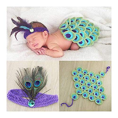 FidgetGear Newborn Baby Girl Boy Knit Crochet Clothes Photo Costume Photography Prop Outfit Peacock Knit Headband Costume