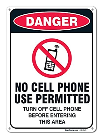 no cell phone use permitted sign large 10 x 7 aluminum for indoor