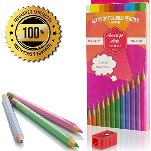 Amerigo Amazing Colored Pencils for Adults and Kids, Free Sharpener, Soft Core, Set of 36