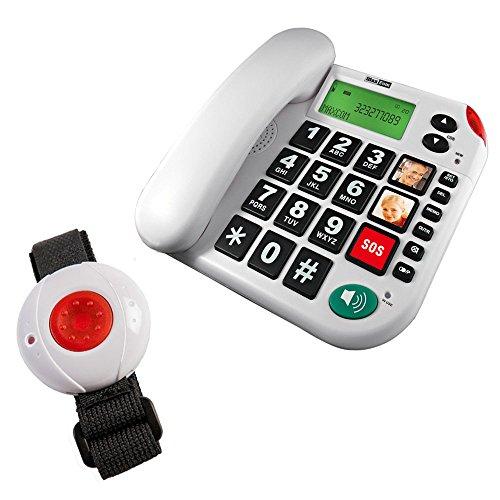 Pflegerufset Senioren-Notruf-Telefon mit Armbandsender-Sender und Adapterstecker