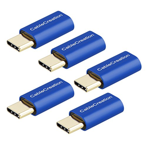 USB-C to Micro-B Adapter[5-Pack], CableCreation Micro USB Female to USB Type C Male Adapter, Data & Charging with 56K Resistor, Compatible Galaxy S9/ S9+/S10, Sony XZ, LG G5 G6 etc, Sapphire Aluminum