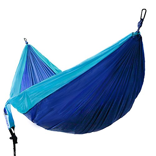 Winner Outfitters Double Camping Hammock – Lightweight Nylon Portable Hammock, Best Parachute Double Hammock For Backpacking, Camping, Travel, Beach, Yard. 118″(L) x 78″(W), Sky Blue/Blue Color