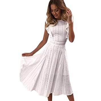 93e756284e Amazon.com : Copercn Women's Ladies Pure White Lace Embossing O-Neck ...
