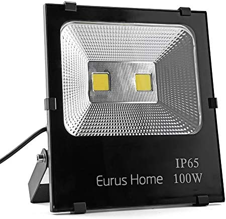 100W led Flood Light Outdoor Indoor Work Light with Plug,1000W Halogen Bulb Equivalent, IP66 Waterproof,6000K White Light, Outdoor Led Lighting