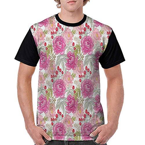 BlountDecor Unisex T-Shirt,Flower Garden Peony and Rose Fashion Personality Customization