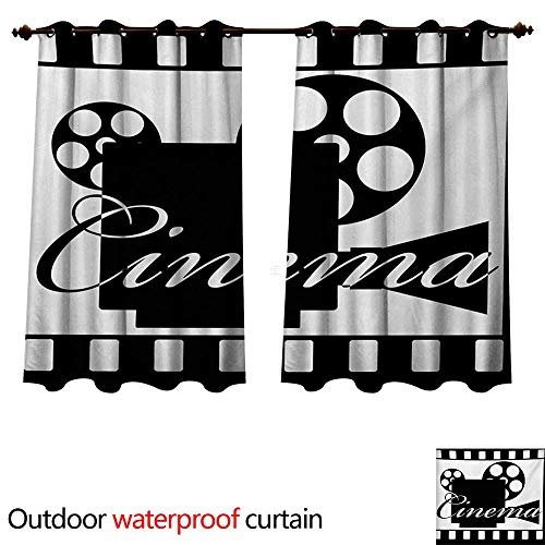 Movie Theater 0utdoor Curtains for Patio Waterproof Monochrome Cinema Projector Inside a Strip Frame Abstract Geometric Pattern W120 x L72(305cm x 183cm)