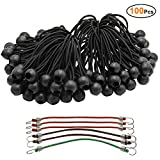 6'' 100 PC Ball Bungee Canopy Tarp Tie Down Cord White Color Bonus 6 PK Mini Bungee Cord (Black)