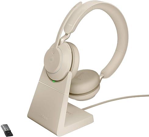 Jabra Evolve2 65 Wireless Headset Mit Ladestation Noise Cancelling Microsoft Teams Zertifizierte Stereo Kopfhörer Mit Langer Akkulaufzeit Usb A Bluetooth Adapter Beige Elektronik