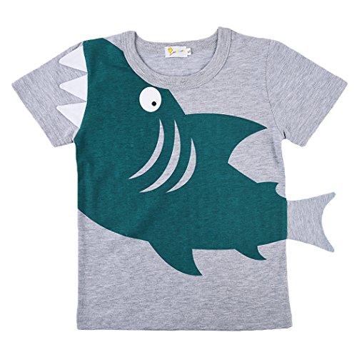 Fedpop Boys Shark Short Sleeve T-Shirt For Kids Novelty Tee Shirt Cotton Top 1-7 Years (7 4 1)
