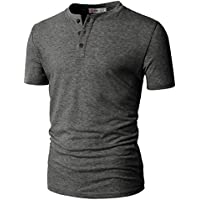 H2H Mens Fashion Casual Front Placket Basic Short Sleeve Henley T-Shirts