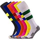 Kids Soccer Socks Bulk 6 Pack Young Boys/Girs Knee High Striped Sports Socks (Hot Pink + Orange + Yellow + Black + White + Royal Blue)