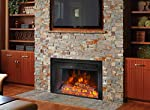 "Barton 26"" Electric Fireplace Insert 3D Flame Stove Adjustable Flame Timer Heater Firebox Logs with Remote Control, Black from Barton"