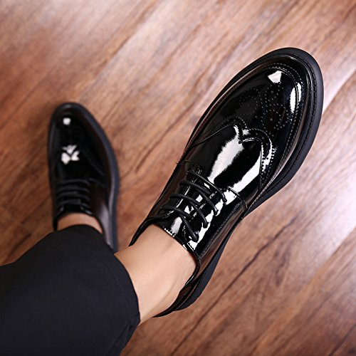 Pointues Chaussures Cuir DHFUD Paresseux Chaussures Glossy Verni Black Hommes Angleterre HgxgZq1