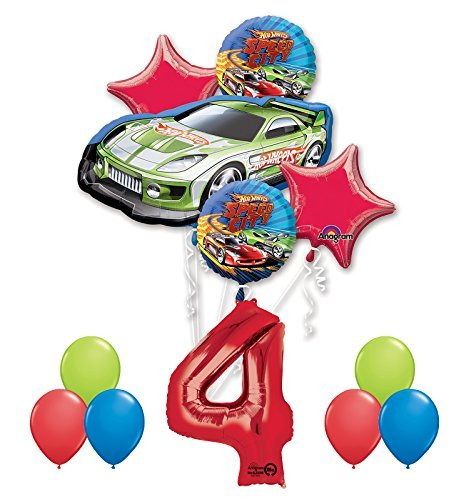 Hot Wheels Birthday Party (Hot Wheels 4th Birthday Party Supplies and Balloon Decorations)