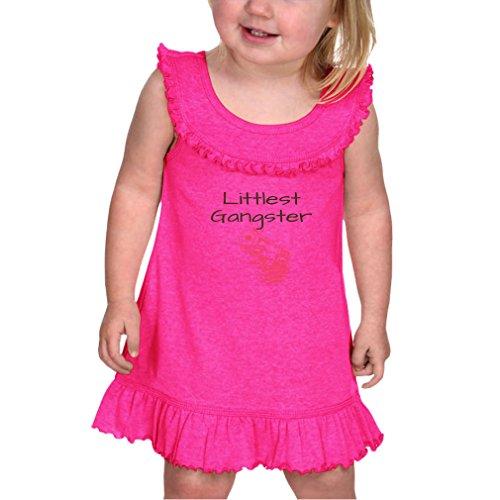 Cute Rascals Littlest Gangster Infants Girl Cotton/Polyester Ruffle Collar Tank Dress Dress - Hot Pink, 12 Months