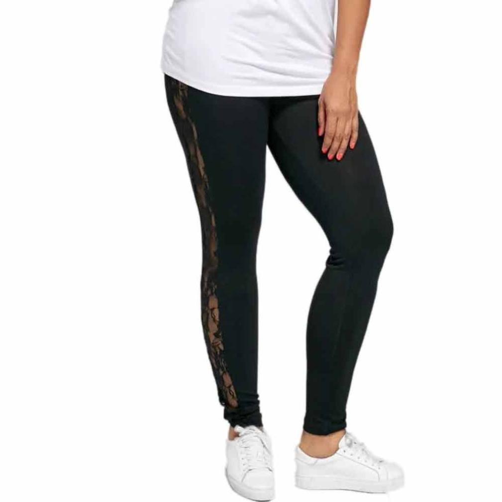 Sumen Women Plus Size Stretch Yoga Leggings Lace Floral Hollow Sport Pants bessky