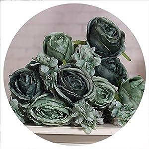 Silk Rose Flower Bouquet 13 Heads Simple Generous European Style Artificial Flowers Wedding Bride Bouquet Decoration Home Decor,Dark Green 58