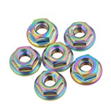 Wanyifa Titanium Ti M6 x 1.0mm Pitch Flange Nut Bike Motorcycle Fixed Fastener pack of 6