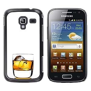MobileHut / Samsung Galaxy Ace 2 I8160 Ace II X S7560M / Whiskey Rocks Drink Alcohol Gold / Delgado Negro Plástico caso cubierta Shell Armor Funda Case Cover
