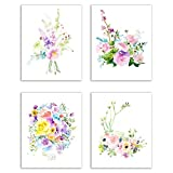 Floral Watercolor Pastel Fine Art Prints — Set of Four 8x10 Photos of Roses, Peonies, Lilacs, Dahlias, Cherry Blossoms and Delphiniums