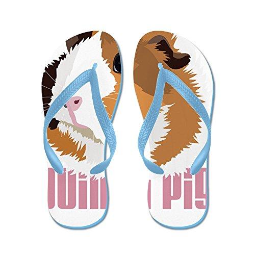CafePress Retro Guinea Pig Elsie (White) - Flip Flops, Funny Thong Sandals, Beach Sandals Caribbean Blue
