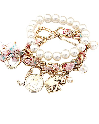 Young & Forever Women's Navratri Diwali Special Enticing Pearl Chain Multilayer Bracelet (Set Of 2) White by Young & Forever