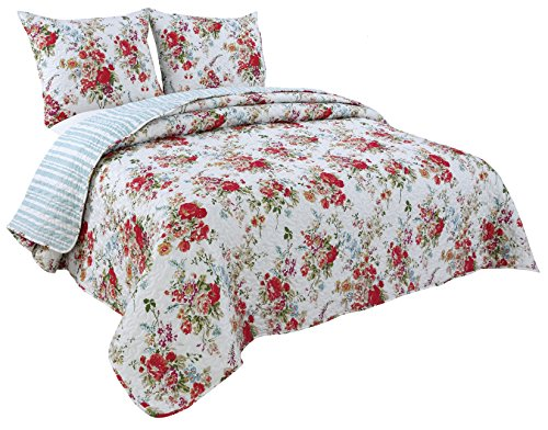 Coast to Coast Living Quilt Sets, Luxurious 3pc Bedspreads- Cotton Rich Soft (Augusta, King)