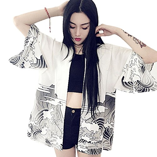 - ZooBoo Women Japanese Kimono Cardiga Harajuku Bathrobe Cardigan Sunscreen Clothes Pajamas Knitting Coat - White/Black (White)