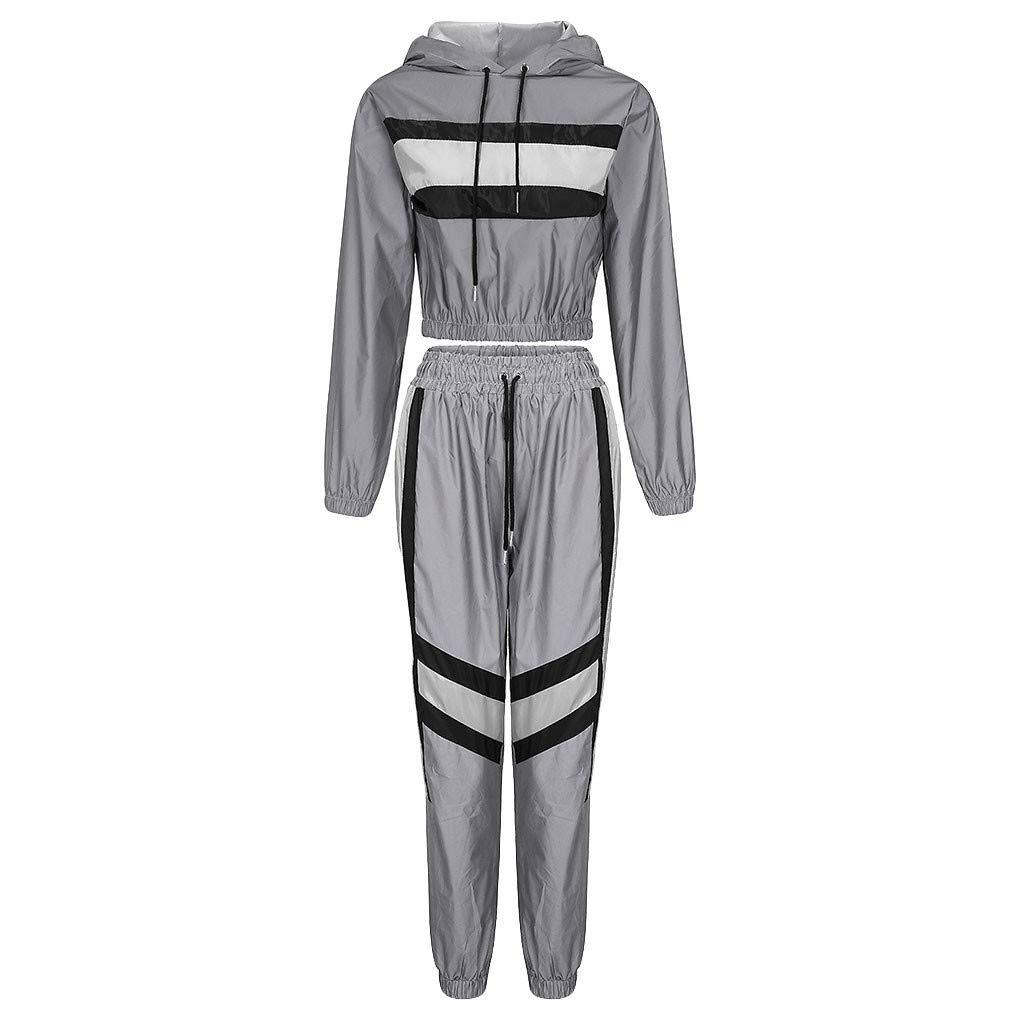 NUSGEAR Tuta Donna Sportiva Riflettente in Due Pezzi Set Drawstring Crop Top e Pantaloni Hip Hop Club Festival Outfit Tuta da Jogging Suit