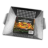 Vegetable Grill Basket By HomEco, Professional Grade 430 Stainless Steel Wok, Meat Grilling Basket, BBQ, Barbecue, Veggie, Fish, Quesadilla, Shrimp, Corn, Kabob- Outdoor Grilling Accessories For Sale
