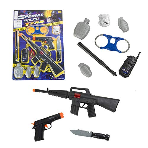Police Officer Role Play Set with 10 Pieces, Toy Rifle Gun, Knife, Handcuff, Cop Dress up Boy Kid Gift ()