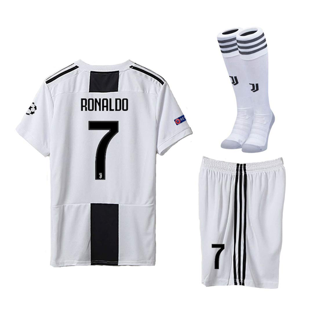 b7e7b8c166f Pskhf Juventus 2018 2019 Season  7 Ronaldo Home Kids Or Youth Soccer Jersey    Shorts   Socks   Armbands 9-10Years