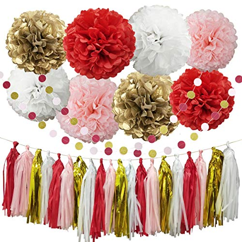InBy 30pcs Red Tissue Paper Pom Poms Tassel Garland Party Decoration Kit for Baby Shower Bridal Wedding Bachelorette Birthday Graduation Supplies - Red, Gold, Pink, White]()