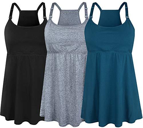 SUIEK Women's Nursing Tanks Maternity Tops Racerback Breastfeeding Cami Bra Shirt (Large, Black + Atrovirens + Dark Grey (Fourth Style))