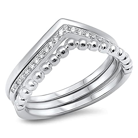 Chevron Set White CZ Stackable Thumb Ring .925 Sterling Silver Band Size 6 (RNG16024-6) (Chevron Cz Ring)