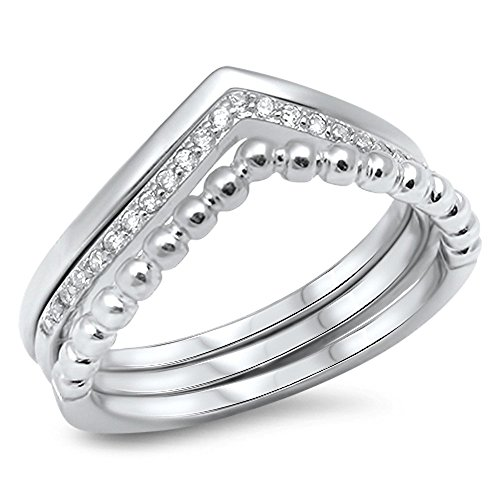 Chevron Set White CZ Stackable Thumb Ring .925 Sterling Silver Band Size -