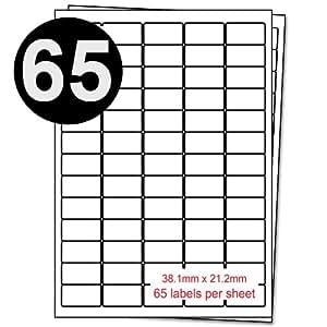 Paquete de 100 hojas-A4 dirección Etiqueta s - 65 Etiqueta s Por Hoja- 38.1mm x 21.2mm - Plazas Reemplazo Para Tintajet Y LaserJet Impresoras.