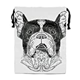 Portrait Of French Bulldog Print Drawstring Bag Rucksack Totes Gym Bag Party Favors for Kids