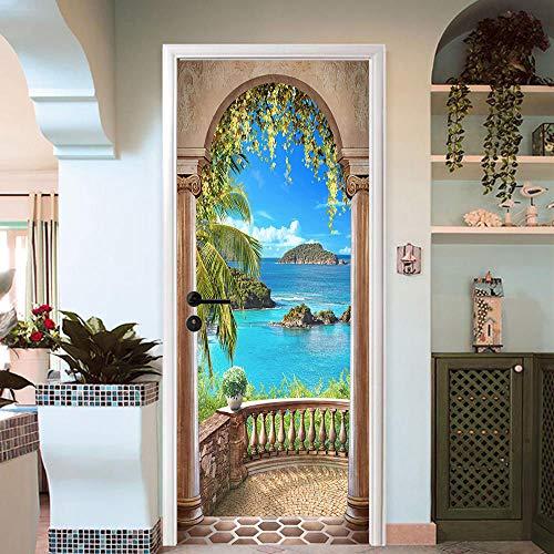 FLFK 3D Sea Balcony Arch Door Sticker Self-adhesive Mural Photo Wall Decal 30.3''x78.7''(MT870) by FLFK